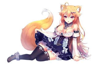 Rating: Questionable Score: 52 Tags: animal_ears areola dress heels kitsune no_bra see_through skirt_lift tail thighhighs zhu_fun User: sym455