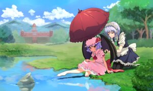 Rating: Safe Score: 15 Tags: dress izayoi_sakuya maid pantyhose remilia_scarlet siyajiyatouhou touhou umbrella wet wings User: Mr_GT
