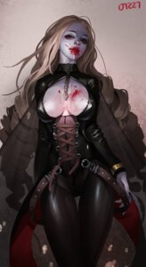 Rating: Questionable Score: 22 Tags: blood cleavage erect_nipples midfinger22 no_bra signed User: Brufh