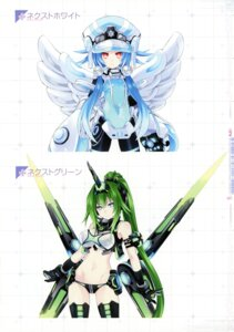 Rating: Questionable Score: 16 Tags: bodysuit choujigen_game_neptune cleavage green_heart next_green next_white shinjigen_game_neptune_vii thighhighs tsunako white_heart wings User: Radioactive