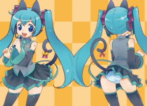 Rating: Safe Score: 13 Tags: akitsu animal_ears hatsune_miku nekomimi pantsu shimapan tail thighhighs vocaloid User: shiokara