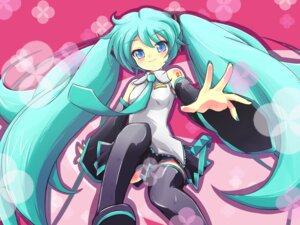 Rating: Safe Score: 11 Tags: hatsune_miku takunama thighhighs vocaloid wallpaper User: charunetra