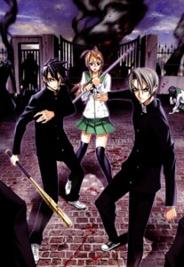 Rating: Safe Score: 16 Tags: blood highschool_of_the_dead igou_hisashi inazuma komuro_takashi miyamoto_rei seifuku sword thighhighs User: DLS84