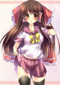 Rating: Safe Score: 41 Tags: amane_ruri hakurei_reimu seifuku thighhighs touhou User: 椎名深夏