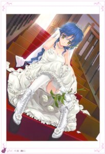 Rating: Questionable Score: 73 Tags: cleavage dress happoubi_jin pantsu stockings thighhighs wedding_dress User: crim