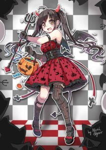 Rating: Safe Score: 26 Tags: abyss_of_parliament dress halloween heels horns tail thighhighs weapon wings User: Mr_GT