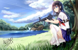 Rating: Safe Score: 58 Tags: allenes autographed gun seifuku thighhighs weapon User: zero|fade