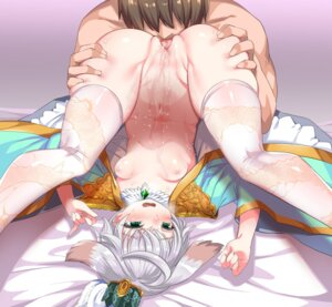 Rating: Explicit Score: 56 Tags: animal_ears asian_clothes bottomless breasts cunnilingus harigane_shinshi nipples no_bra open_shirt pussy pussy_juice sennen_sensou_aigis thighhighs User: Mr_GT