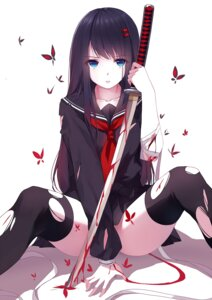 Rating: Questionable Score: 139 Tags: blood caidychen seifuku sword thighhighs torn_clothes User: tbchyu001