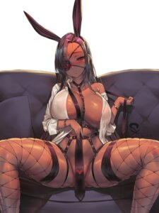 Rating: Questionable Score: 50 Tags: animal_ears bunny_ears dress_shirt erect_nipples eyepatch fishnets open_shirt suerte tagme thighhighs User: Mr_GT