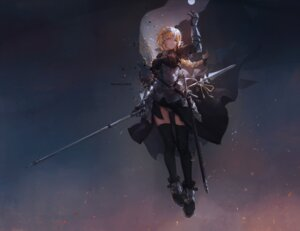 Rating: Safe Score: 70 Tags: armor fate/apocrypha fate/grand_order fate/stay_night mivit ruler_(fate/apocrypha) sword thighhighs weapon User: Radioactive