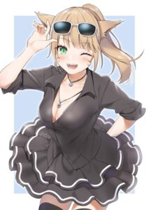 Rating: Safe Score: 21 Tags: animal_ears cleavage final_fantasy final_fantasy_xiv megane miqo'te no_bra open_shirt tagme thighhighs User: Mr_GT