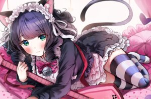 Rating: Questionable Score: 58 Tags: animal_ears cyan_(show_by_rock!!) guitar maid nekomimi sak show_by_rock!! skirt_lift stockings thighhighs User: emtec