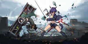 Rating: Safe Score: 16 Tags: arknights ch'en_(arknights) hamachi_hazuki horns hoshiguma_(arknights) sword tail User: Dreista