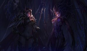 Rating: Safe Score: 45 Tags: armor chenbo elf monster_girl pointy_ears sarah_louise_kerrigan starcraft sylvanas_windrunner thighhighs wings world_of_warcraft User: eridani
