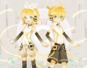 Rating: Safe Score: 6 Tags: headphones kagamine_len kagamine_rin len_append mikanniro rin_append thighhighs vocaloid vocaloid_append User: Nekotsúh