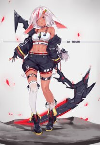Rating: Safe Score: 8 Tags: animal_ears aoi_(buzhuen444) bunny_ears garter thighhighs weapon User: Mr_GT