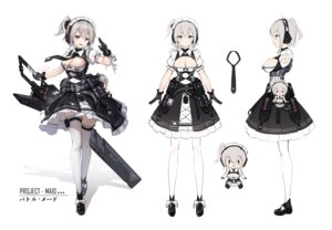 Rating: Questionable Score: 19 Tags: character_design chibi cleavage headphones k.t.cube maid no_bra sketch skirt_lift sword thighhighs User: Dreista