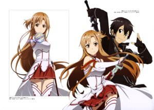Rating: Safe Score: 32 Tags: armor asuna_(sword_art_online) kirito nakamura_naoto sword sword_art_online thighhighs yonezawa_masaru User: drop