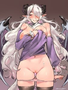 Rating: Explicit Score: 28 Tags: breast_hold breasts horns kenshin187 nipples no_bra pantsu panty_pull pointy_ears pussy pussy_juice shirt_lift thighhighs uncensored wings User: Mr_GT