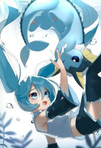 Rating: Safe Score: 18 Tags: crossover hatsune_miku pokemon reirou_(chokoonnpu) skirt_lift thighhighs vaporeon vocaloid User: Munchau
