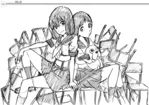 Rating: Safe Score: 10 Tags: kill_la_kill mankanshoku_mako matoi_ryuuko monochrome seifuku sketch sushio User: Radioactive
