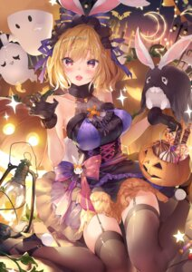 Rating: Safe Score: 49 Tags: animal_ears bunny_ears cleavage dress halloween heels monster odaefnyo see_through stockings thighhighs User: whitespace1