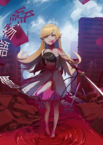 Rating: Explicit Score: 13 Tags: araragi_koyomi blood dress extreme_content guro haowei_wu monogatari_(series) oshino_shinobu summer_dress sword User: Dreista