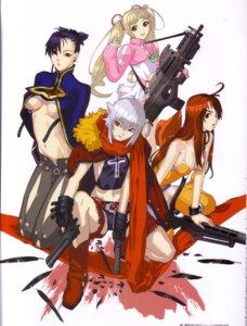 Rating: Safe Score: 15 Tags: amy bakuretsu_tenshi cleavage dress gun hakua_ugetsu jo megumi nopan sei thighhighs underboob User: Eruru