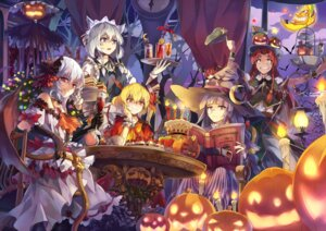 Rating: Safe Score: 42 Tags: flandre_scarlet halloween hong_meiling izayoi_sakuya neko_(yanshoujie) patchouli_knowledge remilia_scarlet touhou User: Mr_GT