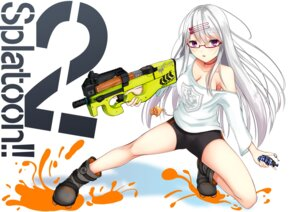 Rating: Safe Score: 23 Tags: bike_shorts cleavage gun kurokami_(kurokaminohito) megane no_bra splatoon User: Masutaniyan