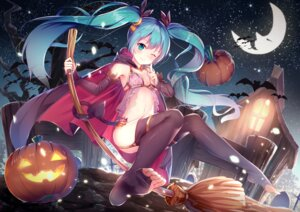 Rating: Safe Score: 120 Tags: bra cleavage feet halloween hatsune_miku lingerie see_through stockings tail thighhighs vocaloid yan_(nicknikg) User: Mr_GT