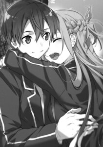 Rating: Safe Score: 11 Tags: abec asuna_(sword_art_online) kirito monochrome seifuku sword_art_online User: kiyoe