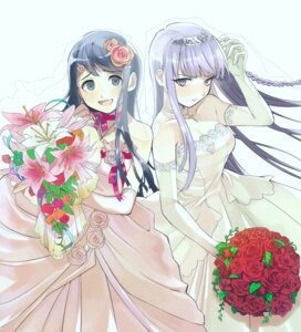 Rating: Safe Score: 36 Tags: amaneku dangan-ronpa dress kirigiri_kyouko maizono_sayaka wedding_dress User: animeprincess