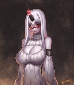 Rating: Safe Score: 30 Tags: cleavage horns kantai_collection kugi_ta_hori_taira megane seaport_hime sweater User: Mr_GT