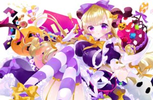 Rating: Questionable Score: 28 Tags: dress halloween horns r_e_mimimi skirt_lift stockings thighhighs User: sym455