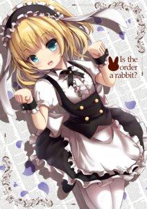 Rating: Safe Score: 34 Tags: animal_ears bunny_ears gochuumon_wa_usagi_desu_ka? kirima_sharo maid missile228 pantyhose skirt_lift User: 蕾咪