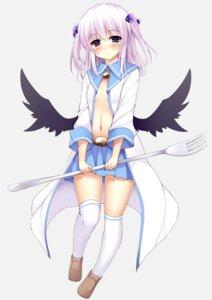 Rating: Questionable Score: 48 Tags: no_bra open_shirt seifuku torisukerabasu underboob wings User: 椎名深夏