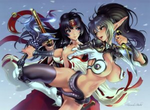 Rating: Questionable Score: 38 Tags: armor cleavage echidna elf keltan maeda_hiroyuki miko nopan pointy_ears queen's_blade sword thighhighs tomoe underboob wet User: KiNA_Asuki
