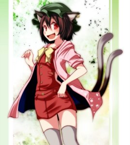Rating: Safe Score: 11 Tags: animal_ears chen nekomimi s-syogo tail thighhighs touhou User: charunetra