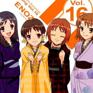 Rating: Safe Score: 7 Tags: disc_cover enomoto_miyuki enoz nakanishi_takako okajima_mizuki suzumiya_haruhi_no_yuuutsu yukata zaizen_mai User: LHM-999