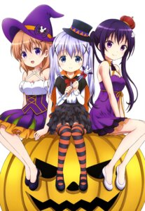 Rating: Safe Score: 105 Tags: cleavage dress gochuumon_wa_usagi_desu_ka? halloween heels hoto_cocoa kafuu_chino tedeza_rize thighhighs weapon witch User: drop