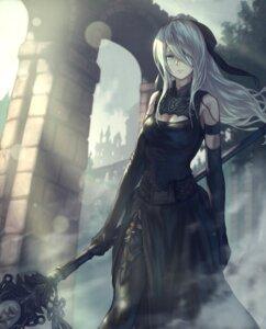 Rating: Safe Score: 11 Tags: cleavage dress nier_automata thighhighs weapon yasu_(segawahiroyasu) yorha_type_a_no._2 User: Dreista