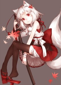 Rating: Safe Score: 42 Tags: animal_ears bloomers inubashiri_momiji junwool tail thighhighs touhou User: Mr_GT