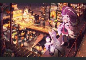 Rating: Safe Score: 59 Tags: animal_ears japanese_clothes kitsune landscape misaki_yuu tail thighhighs umbrella User: Mr_GT