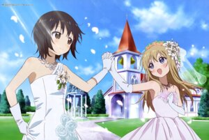 Rating: Safe Score: 44 Tags: dress funami_yui miyanishi_tamako toshinou_kyouko wedding_dress yuru_yuri User: drop