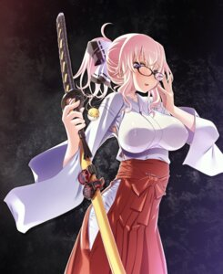 Rating: Questionable Score: 44 Tags: erect_nipples megane miko no_bra sakuya_tsuitachi sword User: mash