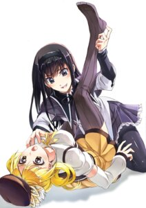Rating: Questionable Score: 33 Tags: akemi_homura breast_grab pantyhose puella_magi_madoka_magica streamingsun thighhighs tomoe_mami yuri User: Mr_GT