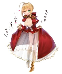Rating: Safe Score: 60 Tags: armor cleavage dress fate/extra fate/stay_night heels kou_mashiro pantsu saber_extra see_through skirt_lift User: Mr_GT