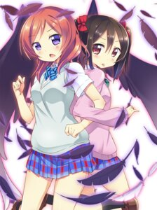 Rating: Safe Score: 37 Tags: kurou_(quadruple_zero) love_live! nishikino_maki seifuku wings yazawa_nico User: 椎名深夏